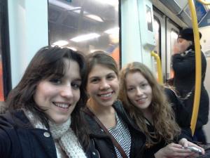 Carlota, Me, and Amina on the Metro coming home from IKEA
