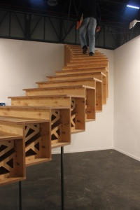 Staircase leading to the top of the stalls allowing you to see out over the exhibition.